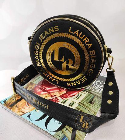 Okrągła torebka Laura Biaggi czarno złota