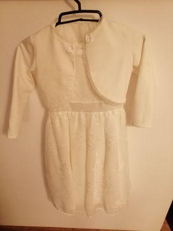 Sukienka biała róż. 128 ślub, komunia, Boże Ciało