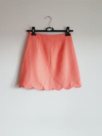 spódniczka spódnica na lato elegancka łososiowa pomarańczowa Asos XS