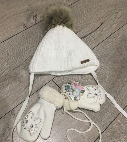 Детский набор шапочка и рукавички