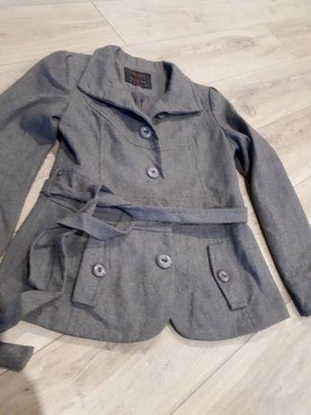 Modny szary krótki płaszczyk płaszcz! Wiosna! Butik! dopasowany