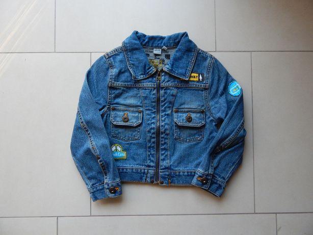Zestaw Katana kurtka jeansowa, koszula, 2* bluzka r. 116 bdb