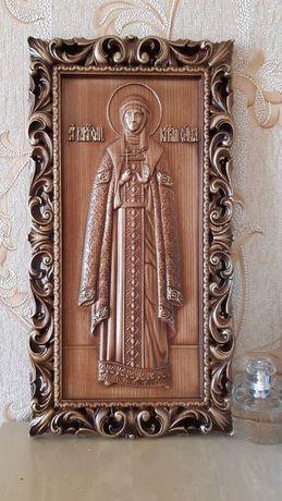 Резная деревянная Икона княгини Ольги