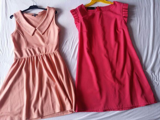 Sukienki M/L wassyl malinowa lososiowa rozkloszowana, prosta kolnierz