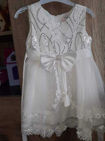 Sukieneczka biala dla dziewczynki rozmiar 86/92