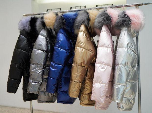 Курточка женская теплая, парка женская золото, серебро