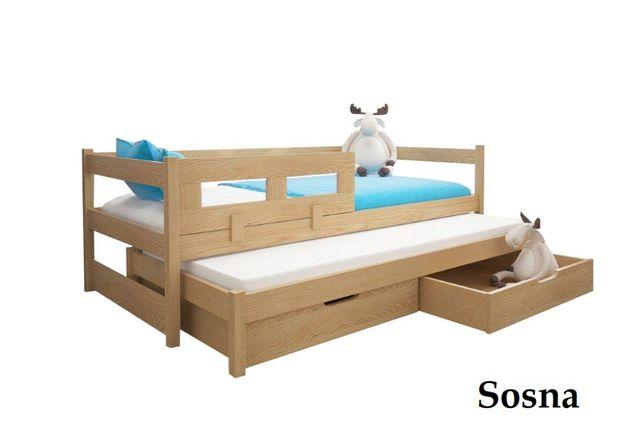 Łóżko 2-poziomowe TONY z barierką na dolne spanie + materace