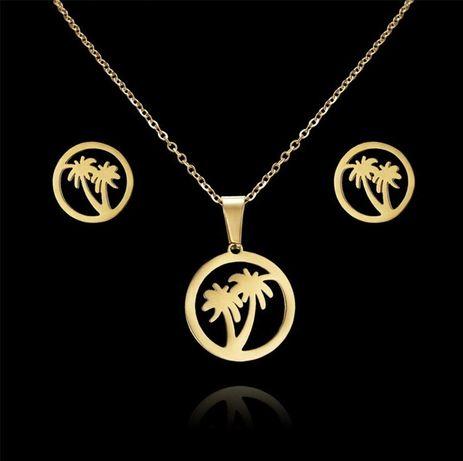Prześliczny Złoty Komplet Biżuterii Łańcuszek Zawieszka Kolczyki