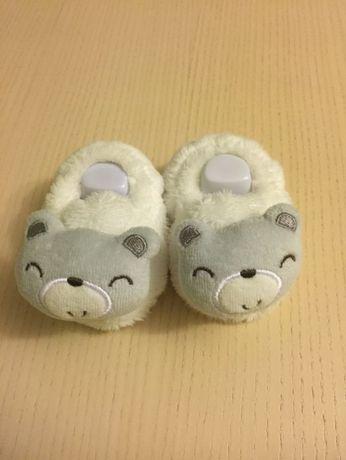 Пинетки тапочки + шапочка для девочки или мальчика плюшевые мишки