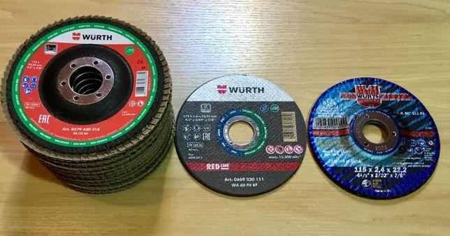 Lote de discos de corte e rebarbar da Wurth diâmetro 115