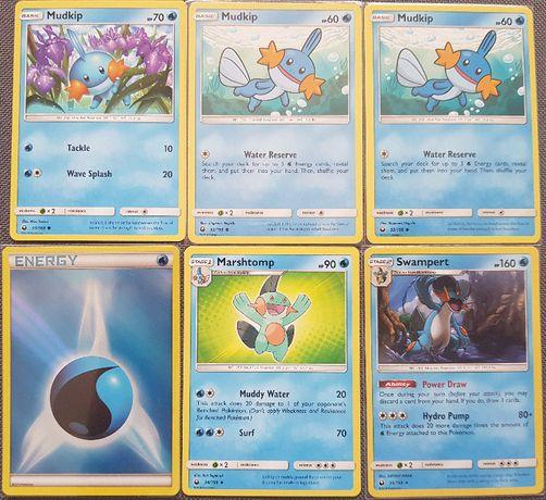 Pokemon TCG zestaw Holo energia Mudkip Marshtomp Swampert