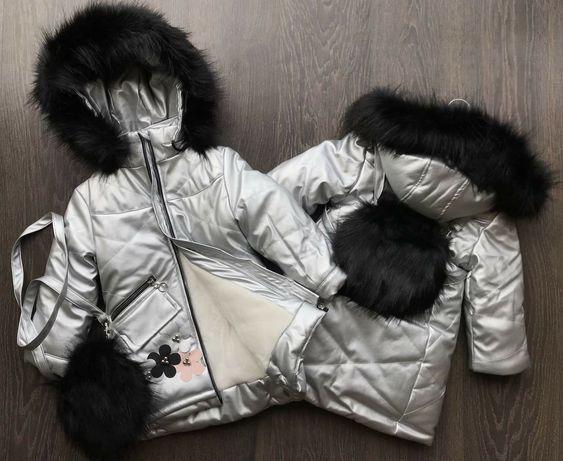 Фото реал Зимняя куртка из эко-кожи+меховая сумочка
