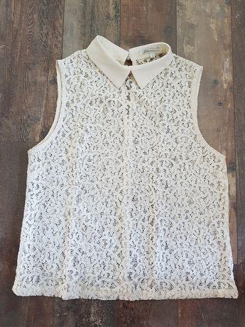 Biała koronkowa bluzka kołnierzyk elegancka Glamorous r. S