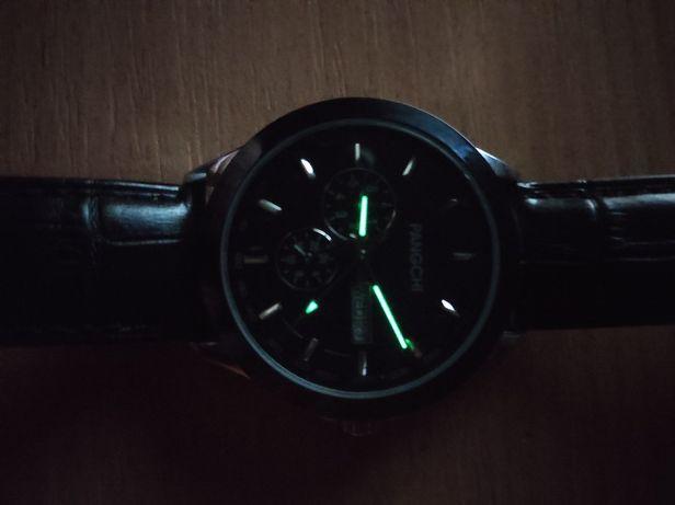 Кварцевые часы PANGCHI ремешок из натуральной кожи