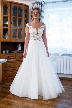 Suknia ślubna rozm. 36 koronka + dwa welony