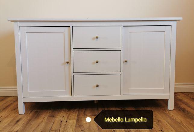 Szafka komoda drewniana biała półki szuflady