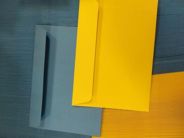 Kolorowe koperty . Żółte i niebieskie c6