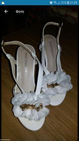 Свадебные босоножки, белые, небольшой устойчивый каблук