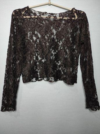Кружевная блузка. Сетка. Чёрная. Прозрачная.