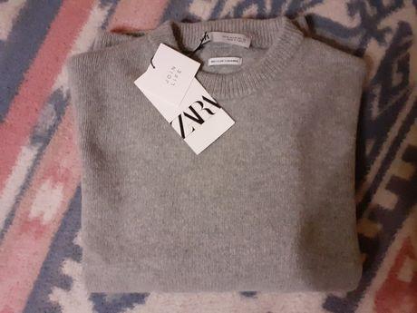 Zara kaszmirowy szary sweter 38 M