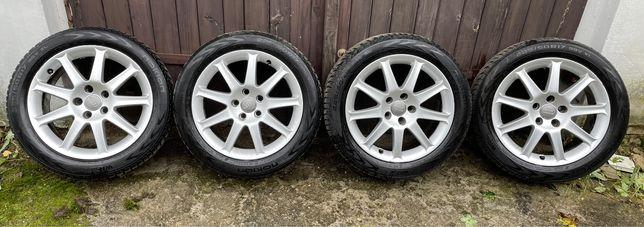 """Alufelgi 17"""" 4 szt. Audi 5x112, oryginał z oponami zimowymi Nonkian"""