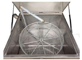 Tanque de inox de Lavagem Automático a quente c/ cesto rotativo
