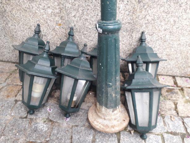 Conjunto candeeiros exteriores rústicos