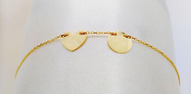 Bransoletka złota serce kółko BR3646