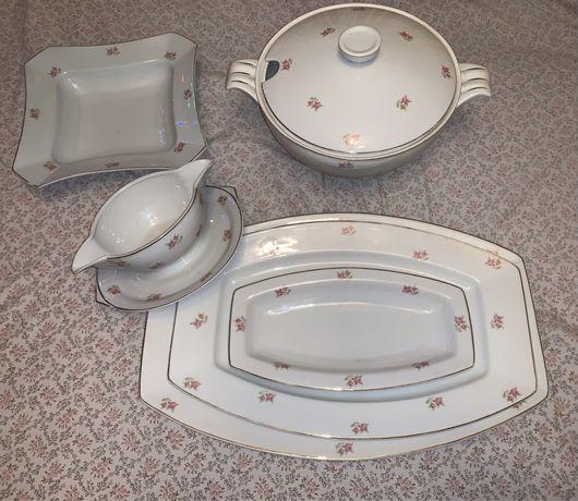 porcelanowy porcelana zestaw waza półmisek sosjerka ćmielów art deco