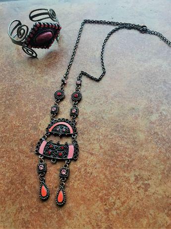 rubinowo-miedziany naszyjnik aztecki z bransoletką-komplet