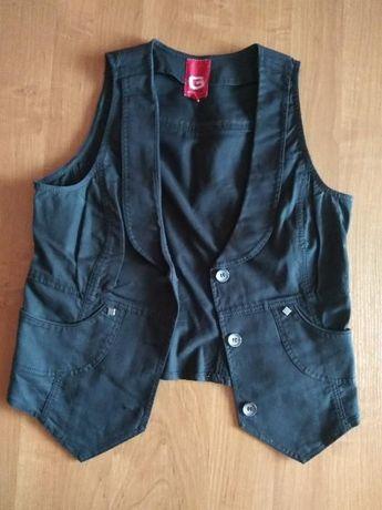 Czarna jeansowa kamizelka S