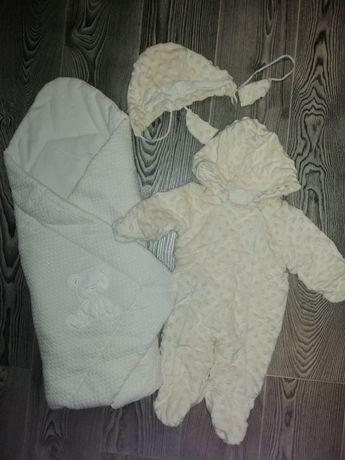 Комплект на выписку, конверт-одеяло для новорожденных, комбинезон