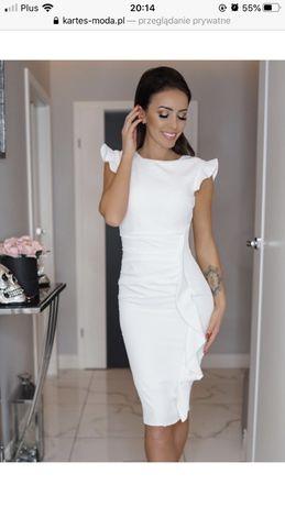 Kartes Moda biała elegancka sukienka z falbanką