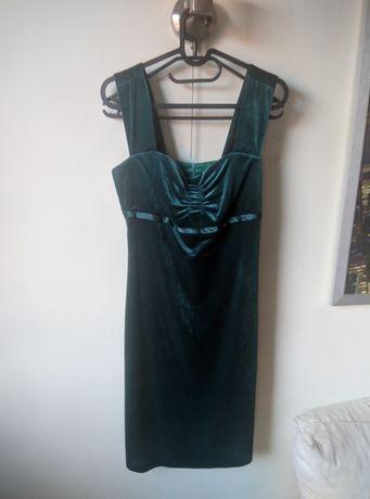 Elegancka, ciemnozielona, aksamitna sukienka Just Style (M)