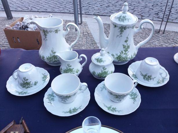 Serviço de chá em porcelana Bavária flores verde
