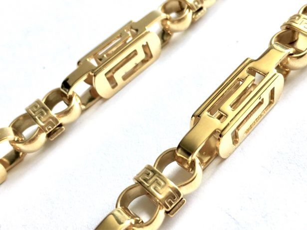 VERSACE Złoty męski łańcuszek bizantyjski•pozłacany 18K 0,750