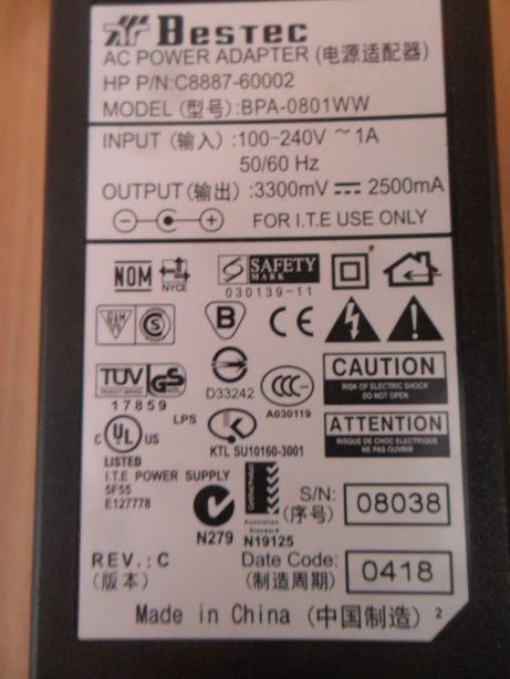 Carregador BESTEC BPA 0801WW C8887 / 60002 / 100 240V PHOTOSMART
