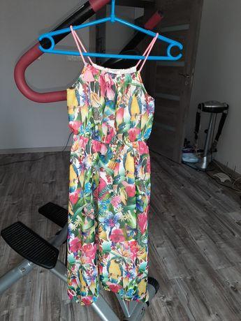 Sukienka na ramiączkach asymetryczny dół h&m 134cm.