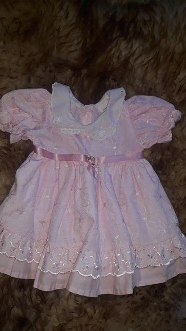 sukienka 86 rozowa chrzest chrzciny święta wesele