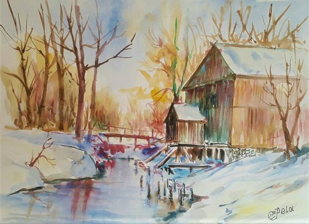 Stary młyn - widok w zimę ; technika akwarela wym. 30x40