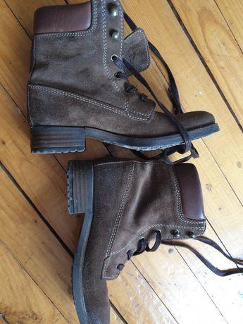 Skórzane botki, trapery,buty, skora nubuk, brązowy 36