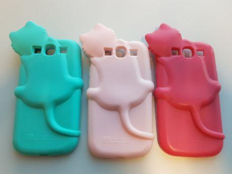 3 x Etui Samsung SIII S III S3 Hello Deere 3D Cat Kot 3 kolory silikon