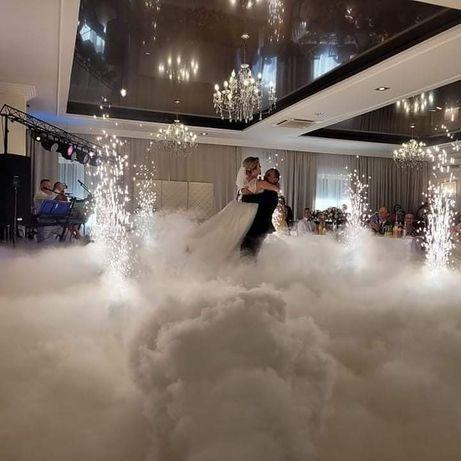 Dekoracje Sala LOVE Miłość, taniec w chmurach, ledony, fontanny iskier