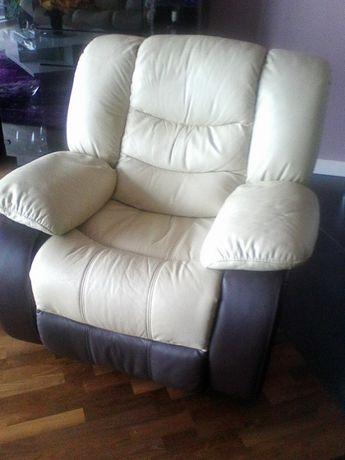 Fotel skórzany wypoczynkowy, obracany/bujany