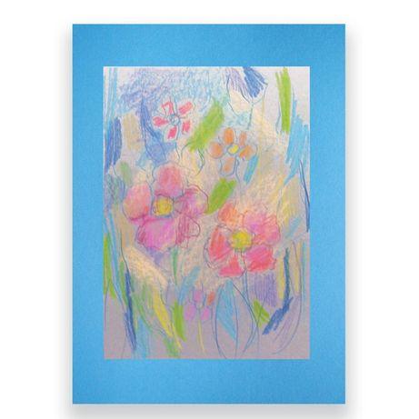 kwiaty rysunek,szkic kwiatów,pastele obrazek ręcznie rysowany łąka
