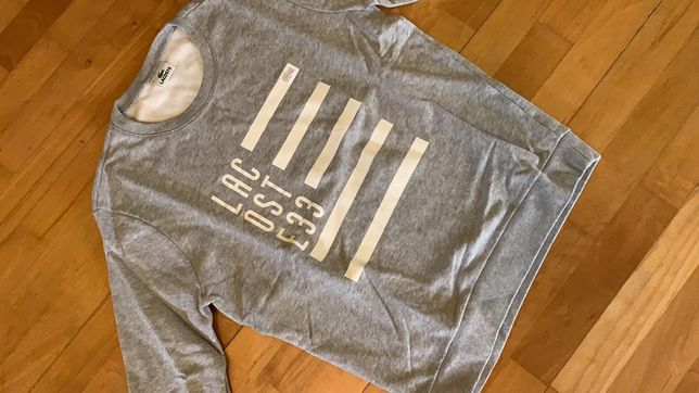 Sweatshirt cinzenta Lacoste sem capuz tamanho S