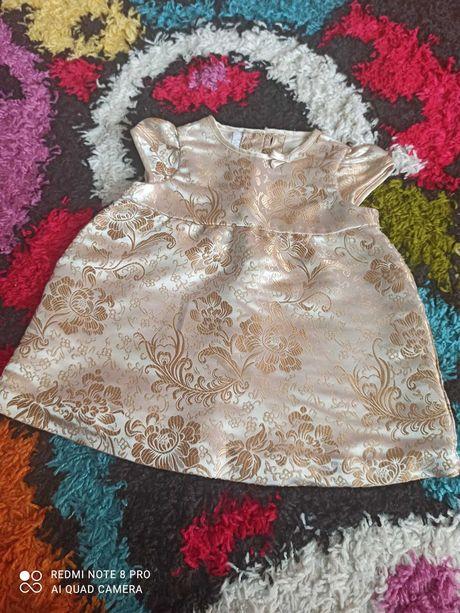 Платье золотое H&M атласное нарядное золотистое 62/платьице/сукня