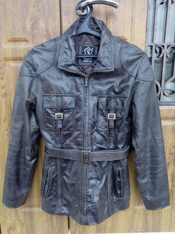 кожаная куртка-пиджак на поясе