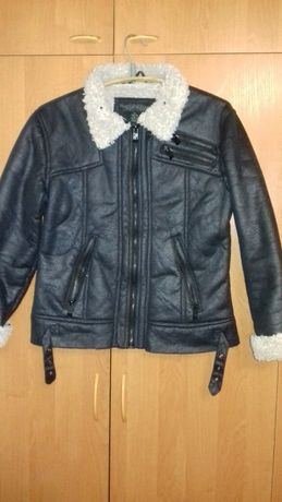 Стильная брендовая куртка дубленка из эко-кожи