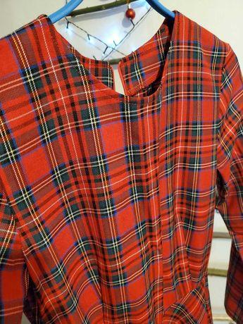 Платье миди в шотландскую клетку тартан